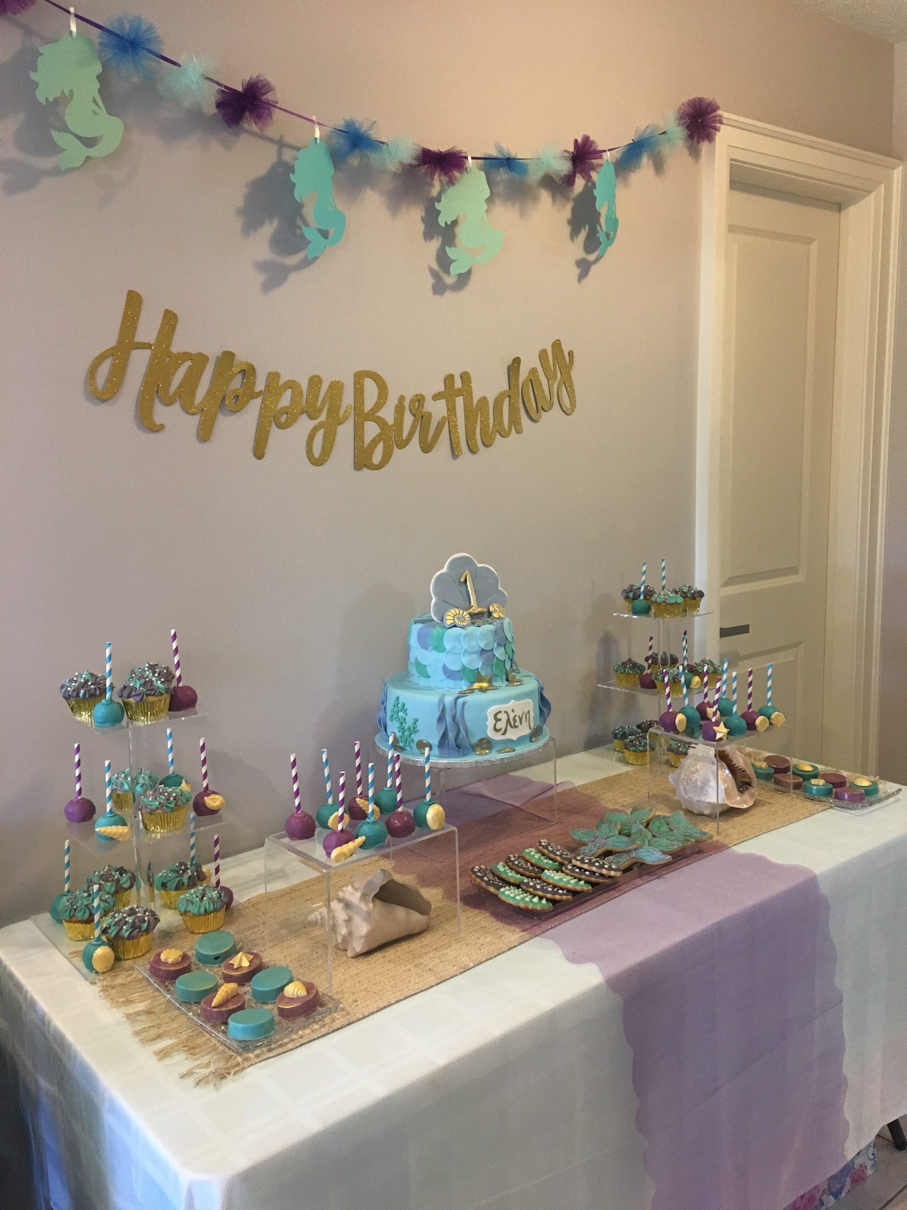 Mermaid themed cupcakes & cookies